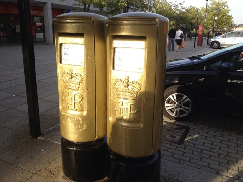 Golden post box for Greg Rutherford's London 2012 Gold medal in Milton Keynes